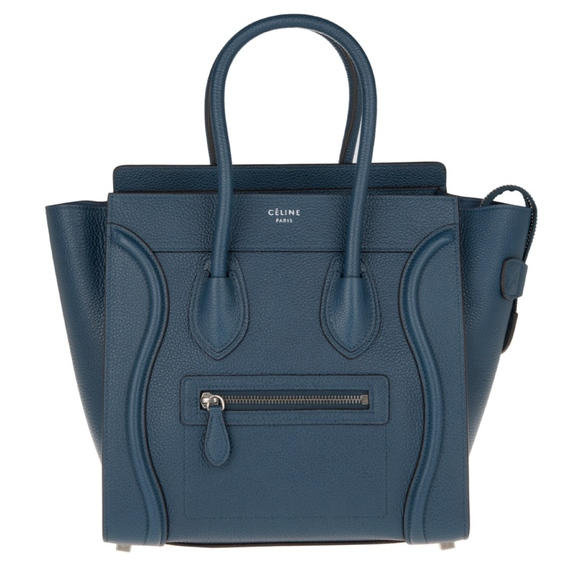 Celine Handbags - New Celine Micro Luggage Tote Blue Drummed Leather